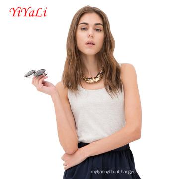 Mulheres rodada blusa t-shirt de gola