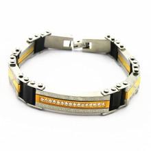 Bracelete de cristal amarelo do aço inoxidável do membro do ouro para MOQ pequeno