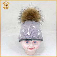 Chapéu de bebê de crochê para crianças de malha com Genuine Fur Pom Pom