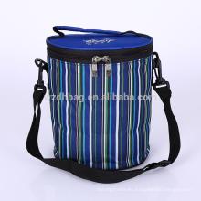 Reutilizable caliente venta plegable poliester aislado rayado Tiffin almuerzo caja Tote Cooler Bag