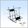 Counter style black wall wire metal with sign holder Bathroom Magazine Rack