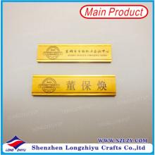 Nombre Badge Holder Gold Finished Name Badge Printing