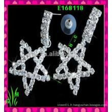 Le dernier design Beaux gros boucles d'oreilles en ornement, nouveau strass Les boucles d'oreilles à cinq étoiles