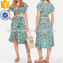 Nudo Floral Top & Asimétrico Ruffle Hem Skirt Set Fabricación Venta al por mayor Moda Mujeres Ropa (TA4095SS)