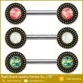 Bouclier tribal de bouclier tribal de bouclier tribal de centre opale vert-blanc en acier chirurgical
