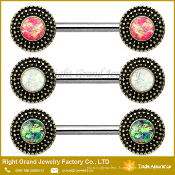 Surgical Steel Green Pink White Opal Center Tribal Shield Nipple Shield Barbells