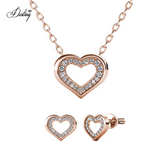 18K Gold Plated Sweet Love Jewellery Set with High Quality Crystal Gift for Love