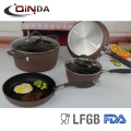 SS and silicon handle forged marble coating cookware sets