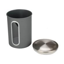 Caja de café de acero inoxidable con ventana