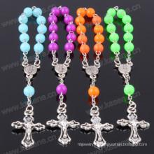 Pulsera cristalina católica de moda caliente del rosario con la cruz
