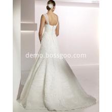 Elegant Trumpet Mermaid Sweetheart Straps Sweep Brush Train Lace Tulle Wedding Dress