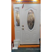 Porte en verre trempé décoré d'acier