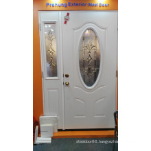 Decorative Glass Inserted Shop Front Steel Door
