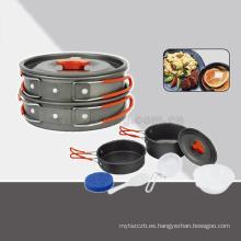 Juego de ollas de aluminio de alta calidad conjunto de cocina de senderismo mochilas al aire libre para cocinar