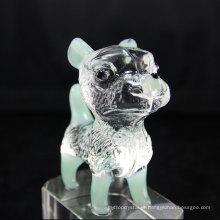 Amplamente utilizado qualidade superior facetado Clear Dog Crystal Decoration para o dia do aniversário
