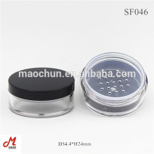 Plastic round cosmetic powder makeup jar with sifter