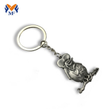 Antique silver metal custom 3d cute keychain