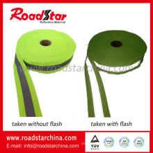 Polyester reflective webbing for clothing