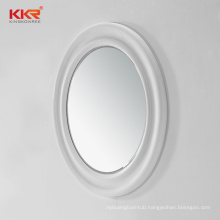 Bathroom round led surround lighted smart solid surface frame wall vanity mirror