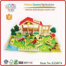 Hot Sale Wooden Zoo Toy pré-escolar, Wooden Animal Zoo Kids Preschool Toys