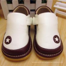 T Strape Baby Boy Shoes Sapatos ásperos Branco Preto