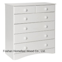 Tradicional de madera blanco dormitorio 6 gabinete de almacenamiento cajón (HC24)