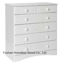 Cabinet de rangement classique à 6 tiroirs en bois blanc (HC24)