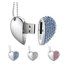 Fashion Colorful  Jewel Heart Usb Flash Drive Custom Usb flash drive logo 16gb 32gb 64gb usb flash drive wood