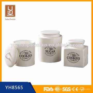 Recipiente redondo e quadrado de cerâmica para café