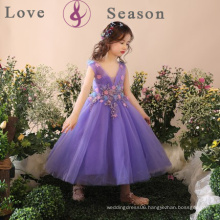 XXLF193 V neck children latest dress style spanish flower light purple flower girl dress