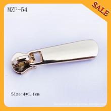 MZP54 Tirador personalizado de cremallera metálica de encargo del logotipo en blanco para los bolsos del negocio