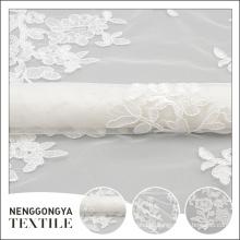 Bordado de tecido de laço de fita de casamento de luxo personalizado padrão de tecido branco