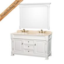 Gabinete de banheiro antigo de madeira maciça clássica de design novo
