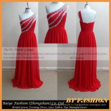 2017 красная трубка секс женщин-вечернее платье или Рождество стразы шифон вечернее платье Красный короткие одно плечо