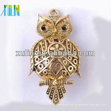 Cuentas de aleación de oro de Zinc Owl Beads con niquel libre de plomo CH184 #