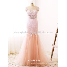 Belle dentelle Appliqued Floor Length Mermaid Tulle Formal Prom Dress for Party