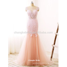 Beautiful Lace Appliqued Floor Length Mermaid Tulle Formal Prom Dress for Party