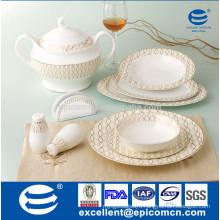 34pcs new bone china table dinnerware set with golden shiny waves crossed salient rim