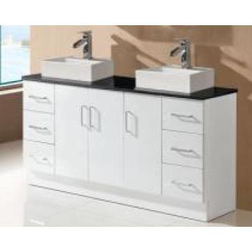 Сантехника высокого глянцевый Белый двойной раковиной шкаф ванной комнаты Тщеты (SK17-1500ВТ-д)