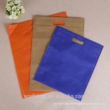 Bolso troquelado no tejido promocional vendedor caliente de la mercancía reutilizable para el bolso de embalaje, bolso de la ropa