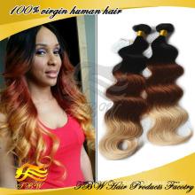 Vierge Brésilienne Ombre Cheveux Trame Extension de Vague de Corps Couleur Trois Tons Cheveux Weave