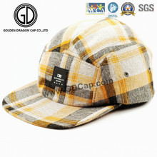 2016 New Design Adjustable Checked Strapback Flat Bill Camper Cap
