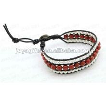 Amitié Red Stone Round Beads Wrap Bracelets