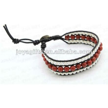 Friendship Red Stone Round Beads Wrap Bracelets