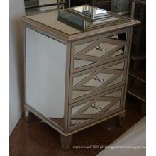 Antique ouro MDF espelhado 3 gaveta de cabeceira
