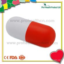 Esfera de alívio de estresse de espuma de PU da forma de cápsula para promoção farmacêutica