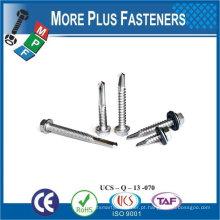 "Taiwan 1/4 ""-20 x 2-1 / 2"" Hex Unslotted Drive Hex Washer Cabeça # 3 Point Bi-Metal Self-Drilling Screw"