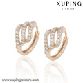 23016-Xuping Jewelry New Design plaqué or boucle d'oreille avec Zircon
