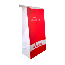 Square bottom air sickness bag with tin tie