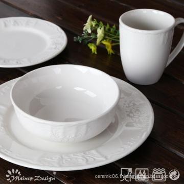 Ensemble de dîner en porcelaine en céramique en relief 16PCS